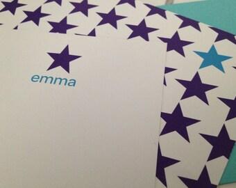 """multi star print notecard (dark purple), set of 25, 4"""" W x 9.25"""" H"""