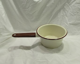 Enamelware, Sauce Pan, Cream With Brown, 1940's or 1950's