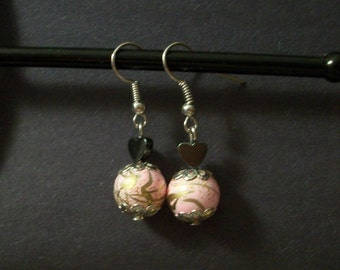 Heart and Marble Bead Earrings (Pink and Gold)