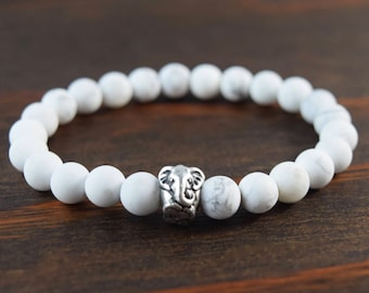 Men's Matte Howlite Bracelet. Men's Elephant Bracelet. White Men's Beaded Bracelet. Yoga Bracelet. Men's Fashion. Lotus & Lava Bracelet.