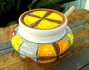 Yellow Orange Made In Ecuador Artisan Honey Jam Pot with Dipper / Mid Century Modern Kitchen / Prissys Newberry Antiques