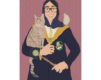 Custom harry potter portrait, gifts for harry potter fans, physical wall art, fun and original gift