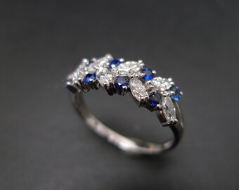 Marquise Ring, Diamond Wedding Band, Blue Sapphire Ring in 14K White Gold, Marquise Cut, Marquise Wedding Ring, Jewelry, Engagement Ring