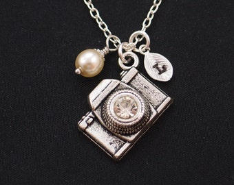 camera necklace, sterling silver filled, initial necklace, Swarovski pearl choice,silver camera charm with crystal lens,photographer jewelry