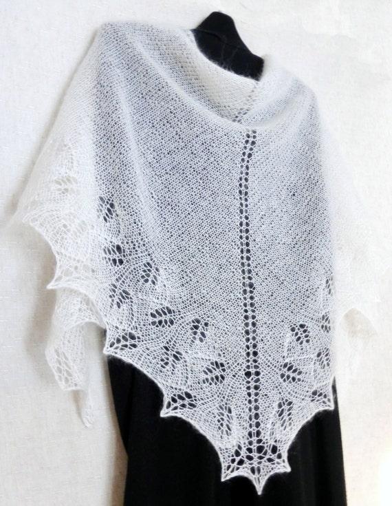 Wedding shawl Lace shawl Hand knitted scarf Wedding Openwork Mohair shawl White wedding Knitted shawl Bridal shawl Wedding wrap Knit shawl