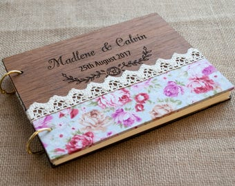 Wood Guest Book / Wedding Guest Book / Floral Guest Book / Flower Guest Book / Rustic Wedding Guestbook / Fabric Guest Book / Wood Fabric