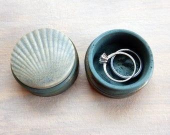 Seashell Ring or Pill Box Jewelry Keepsake Box for Anniversary Birthday Blue Green Pottery Unisex Wooden Ring Holder Beach House Home Decor