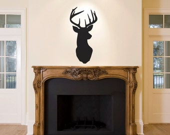Stag Head Buck Wall Decal Sticker Living Room Mantle piece