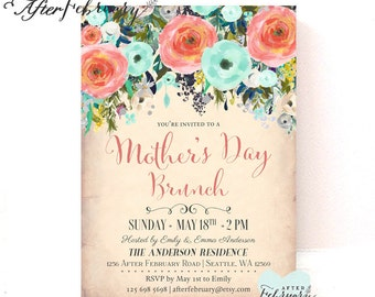 Coral Mint Mother's Day Brunch Invitation MOTHER'S DAY Invitation Floral Cottage Chic Flower Invite // Printable or Printed No.1295MOM