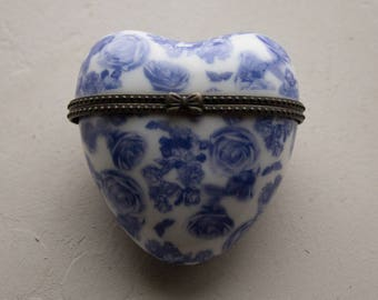 Blue and White Hinged Heart Box