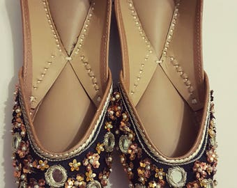 20% off Black Star sequins Punjabi Juttis Khussas Ballerinas shoes flats bridal party wear gypsy boho