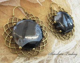 Tribal Brass Ear Weights, Geometry Tribal Earrings, Agate Earrings, Tribal Brass Earrings, Gypsy Hoop Earrings, Gemstone Earrings