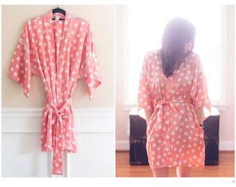 Vintage Pink Polka Dot Satin Robe   Satin and Lace