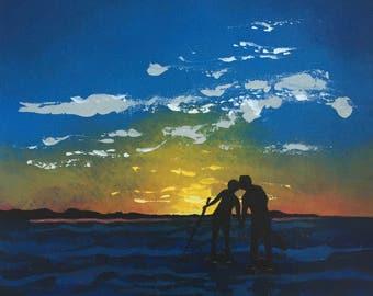 Paddle Love - Beach art, Surf art, Coastal wall art,Love print, Surfing, Paddle boarding,Ocean Art, Sunset, Beach house decor