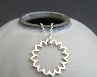 silver lotus frame throat chakra necklace small yoga charm sterling silver yogi pendant simple zen dainty delicate everyday jewelry 5th