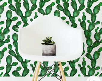 Cactus Removable Wallpaper / Traditional or Self adhesive Wallpaper L056