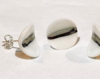 Seed pod: silver porcelain earring