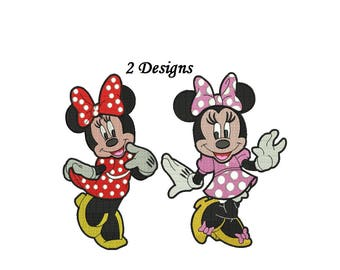 Minnie Embroidery Design - 2 designs each in 4,5,6,7 inch size instant download