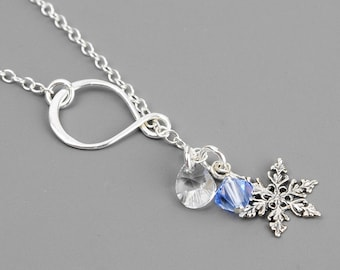 Silver Snowflake Necklace - Swarovski Crystal and Sterling Silver Lariat Necklace - Winter Wedding Jewelry - Snowflake Jewelry