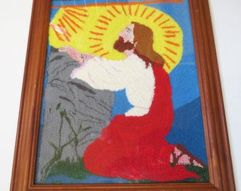Vintage Religious Picture Framed Praying Jesus Colorful 60s Textile Punch Embroidery Wall Art Decor Boho Textile