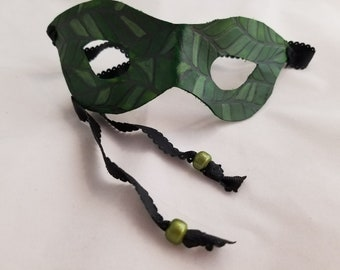 Leather Green Leaf Embossed Mask Handmade by Bientro Leathers with Black Ribbon Ties (Small Face)