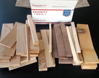 Domestic Wood Scraps, Unfinished Crafting Wood Pieces,  USPS Regional Box of Oak, Cherry, Walnut, Birch, Cedar, Maple