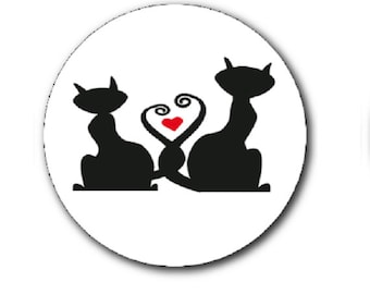 cats and heart cabochon 25mm