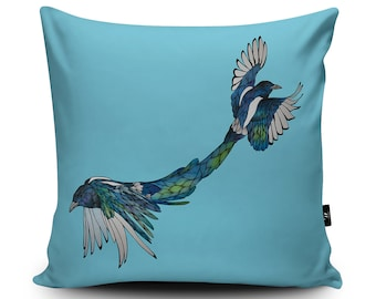 Blue Magpies Handmade Cushion by Paul Robbins | Two For Joy Vegan Pillow | Pair of Birds Art Cushion Decor | Magpie Home Decor