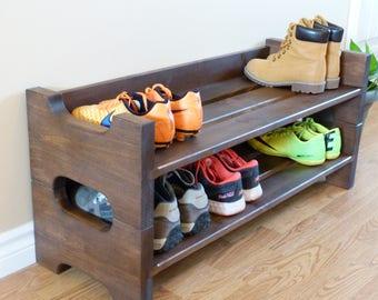 Entryway Stackable Shoe Rack, Shoe Storage, Shoe Organizer, Shoe Cabinet, Shoe Rack Wood