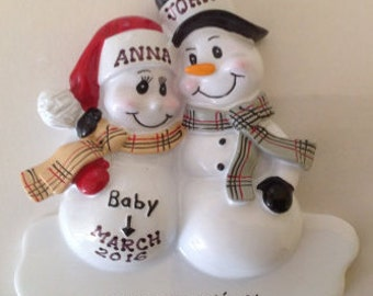 Personalized Christmas Ornament Pregnant Snowman Couple,Expecting Parents Mom to be, Dad to be, Pregnancy announcement