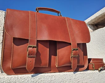 Leather Messenger Bag, Leather Briefcase, 15 inch Laptop Bag, Full Grain Leather Bag, Professional Bag, Mens Messenger Bag.
