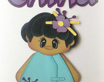 China international beauty travel girl  premade paper piecing 3d die cut by my tear bears kira