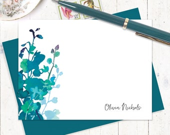 personalized note card set - TEAL WATERCOLOR ORCHID - set of 12 flat cards - custom stationery - flower stationary - gift for her