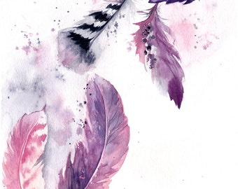 Purple Feathers ORIGINAL Watercolor Painting, Painting of feathers, purple pink watercolour modern painting art, feathers painting