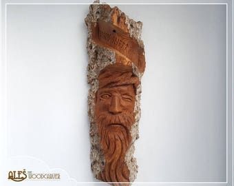 Woodspirit of Odin - hand carved in 16'' (40cm) cottonwood bark, Wotan with runes, Norse mythology carving,