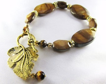 Brown and Gold Bracelet in Tigers Eye Semiprecious Stones with Leaf Toggle Clasp