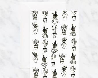 Black and White Cactus Card - Birthday Card - Just Because Card - Blank Card - Thinking of You Card - Watercolor Card - Friendship Card