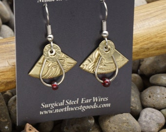 Mixed metals dangle earrings surgical steel ear wires