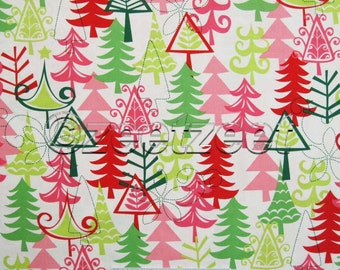 Michael Miller YULE TREES Red White Green Pink Lime Mod Modern CHRISTMAS Holiday Quilt Fabric by the Yard, Half Yard, or Fat Quarter Fq