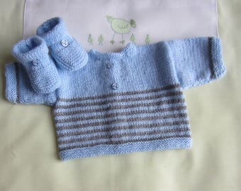 """Jacket and booties """"blue and grey"""" baby size newborn - hand made knit"""