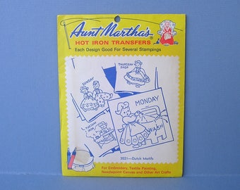 Vintage Hot Iron Transfers . Aunt Martha's 3021 Dutch Motifs . Days of the Week . Sealed Envelope