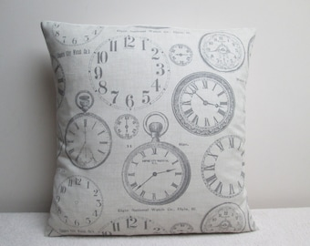 """Fryetts Vintage Clocks French Shabby Chic Cushion Cover Pillow Cover 16"""""""