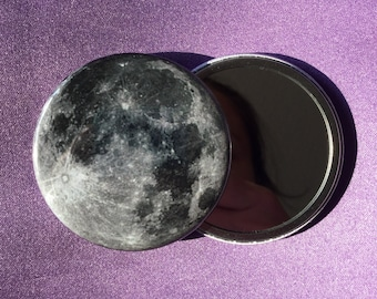 Full moon pocket mirror / Compact mirror / Planet pocket mirror / Full moon compact mirror / Full moon accessory / Lunar accessory