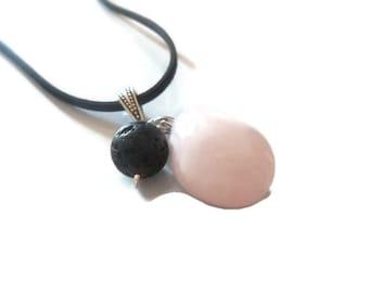Rose Quartz Gemstone Necklace, Lava Rock Pendant Necklace, Essential Oil Diffuser Necklace, Spiritual Jewelry, Crystal Quartz Necklace