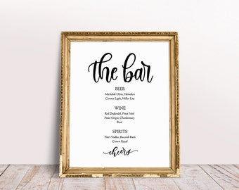 wedding bar menu, list of alcohol for reception, wedding bar list, wedding bar sign, printable bar sign, the bar sign, alcohol sign