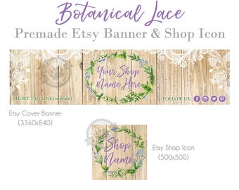Wood Etsy Banner, Shop Banner, Premade Etsy Banner, Etsy Cover Photo, Banner Design, Botanical, Shabby Chic, Floral, Farmhouse, Lace, Rustic