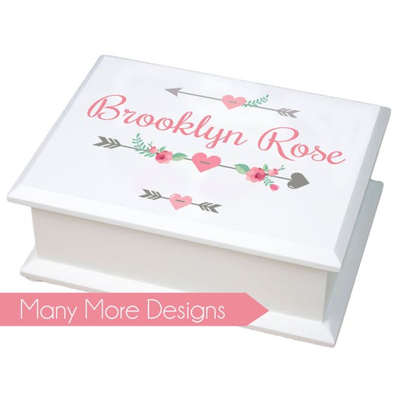 Personalized Jewelry Box girls basic white jewelry box with