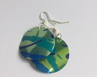 Upcycled fishhook earrings with lime green and blue accents