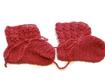 "Baby Booties  Red Baby Shoes   Crochet Booties 3 and half ""   Newborn Shoes   OOAK Booties   Reborn Baby   Doll"