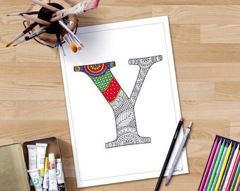 Letter S Coloring Pages Alphabet : Henna doodle letters etsy